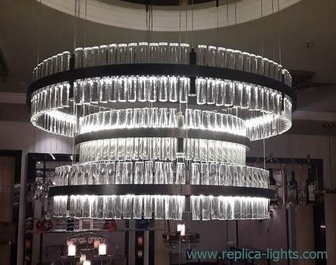 replica Baroncelli Crono LED 3 ring chrome Pendant by Baroncelli