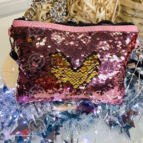 Клатч-сумочка на молнии детская с пайетками меняющая цвет Розовый-Золотистый