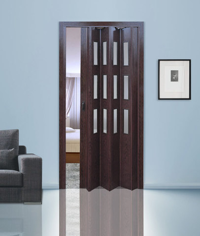 Дверь гармошка с витражами, цвет венге