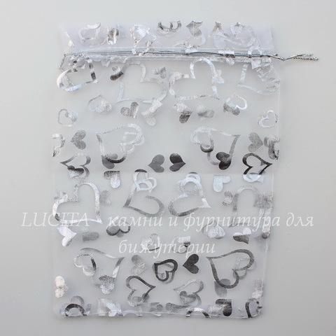 """Подарочный мешочек из органзы """"Сердечки"""", цвет - белый с серебром, 23х17 см"""
