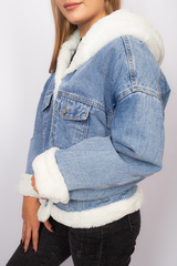 джинсовая куртка с мехом с капюшоном nadya