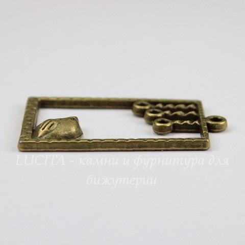 "Подвеска ""Птичка"" в рамке (цвет - античная бронза) 34х17 мм"