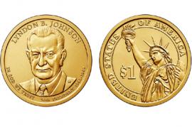 1 доллар 36-й Президент США Джонсон 2015 год