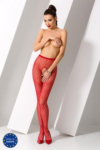 Эротичные колготки с доступом красные с рисунком Елочка