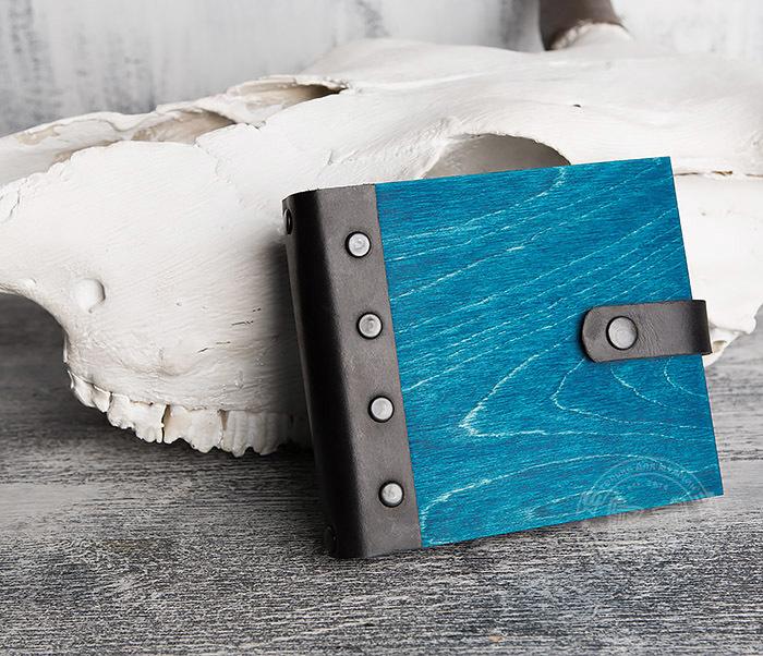 BC127-3 Блокнот в деревянной обложке синего цвета, ручная работа