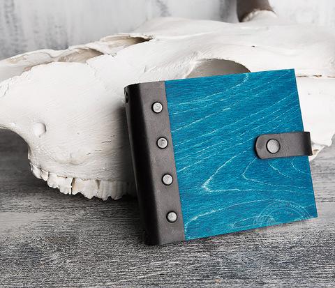 Блокнот в деревянной обложке синего цвета, ручная работа