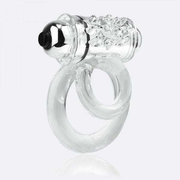 Эрекционные кольца: Прозрачное эрекционное кольцо с шишечками и подхватом мошонки DOUBLE O 6 CLEAR