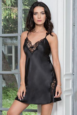 Короткая сорочка Mia-Mella без подреза под грудью полуприлегающего силуэта на тонких бретелях, выполнена из однотонного искусственного шелка фото