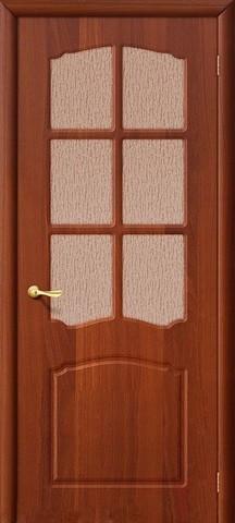 Дверь Дера Азалия, цвет итальянский орех, остекленная