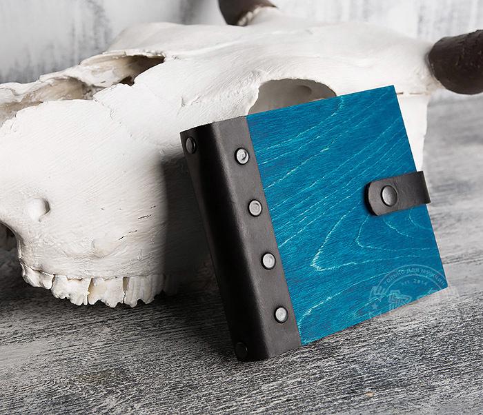 BC127-3 Блокнот в деревянной обложке синего цвета, ручная работа фото 02