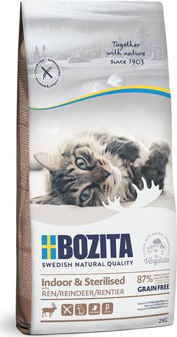 Bozita Indoor & Sterilized GF сухой беззерновой корм для кошек с оленем 2кг
