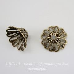 Винтажный декоративный элемент - шапочка 16х8 мм (оксид латуни)