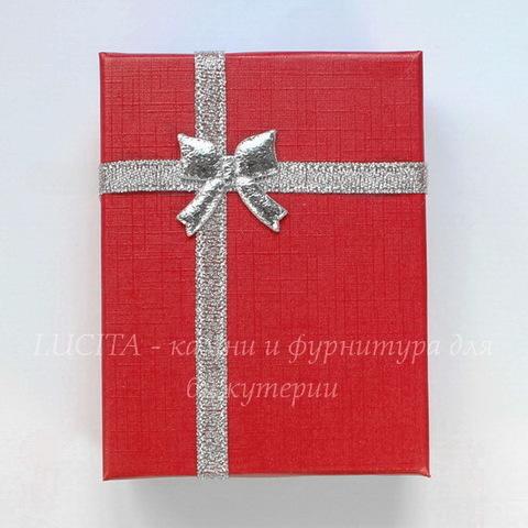 Подарочная коробочка с бантиком (цвет - красный), 92х70х26 мм