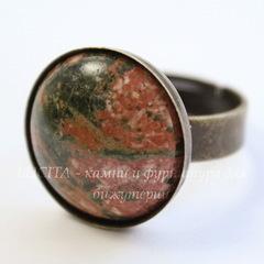 Основа для кольца с сеттингом для кабошона 18 мм (цвет - античная бронза)