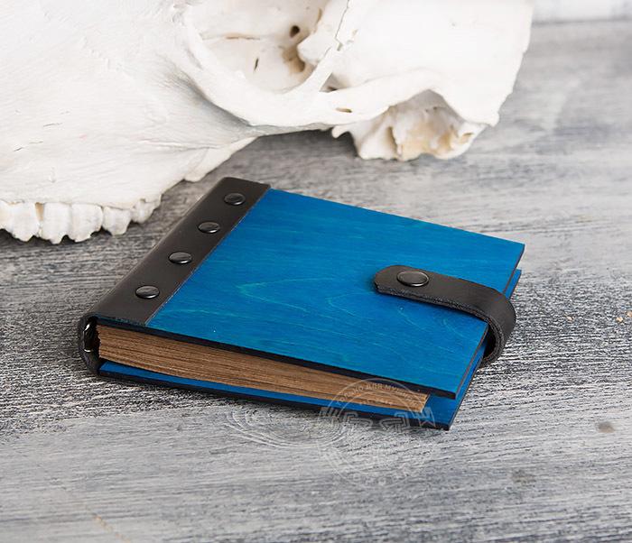 BC127-3 Блокнот в деревянной обложке синего цвета, ручная работа фото 03