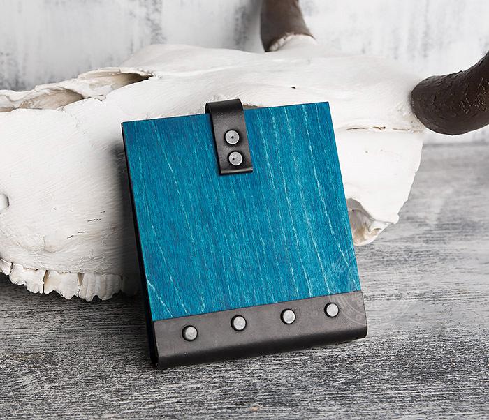 BC127-3 Блокнот в деревянной обложке синего цвета, ручная работа фото 04