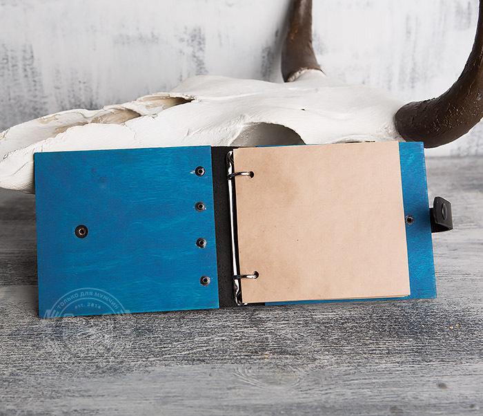 BC127-3 Блокнот в деревянной обложке синего цвета, ручная работа фото 05