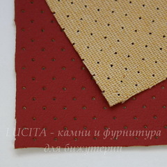 Кожа перфорированная (искусственная), красная, лист 30х20 см