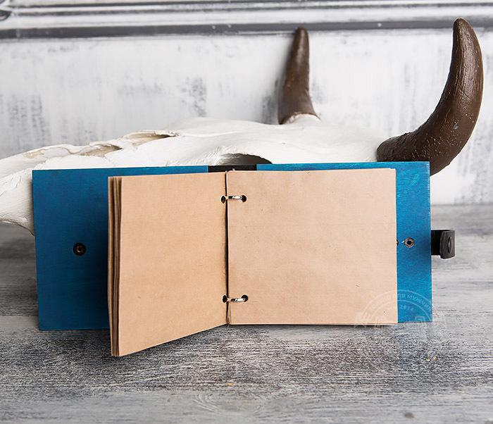 BC127-3 Блокнот в деревянной обложке синего цвета, ручная работа фото 06