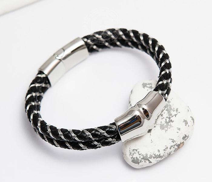BM460 Мужской браслет из кожаного шнура и стальной проволоки (21 см) фото 01