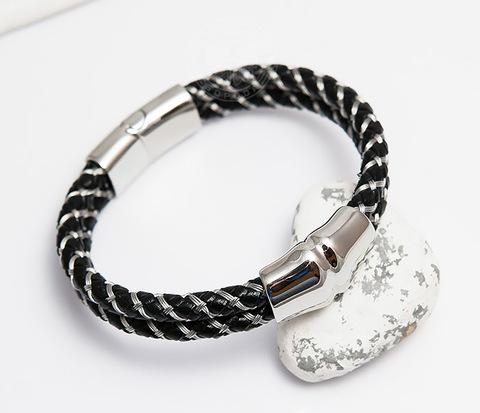 BM460 Мужской браслет из кожаного шнура и стальной проволоки (21 см)