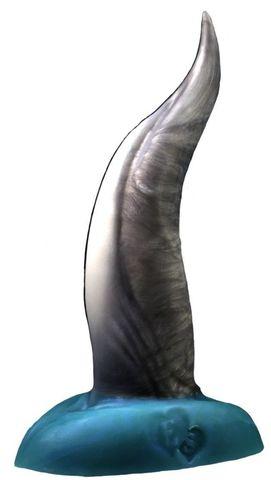 Черно-голубой фаллоимитатор  Дельфин small  - 25 см.