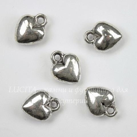 """Подвеска """"Сердечко"""" (цвет - античное серебро) 12х10 мм, 5 штук"""