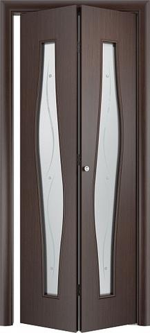 Дверь складная Верда С-10ф (2 полотна), Сатинато с фьюзингом, цвет венге, остекленная