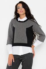 """Хит сезона! Модный укороченный блузон свободного кроя. Отлично сочетается с офисным стилем. Белую рубашку вы можете приобрести в разделе """"Блузки"""". Длина: 44-50р - 58-61см"""