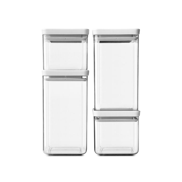 Набор прямоугольных контейнеров 4 шт, Светло-серый, арт. 122569 - фото 1