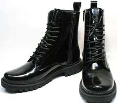 Модные ботинки на шнуровке женские зимние Ari Andano 740 All Black.