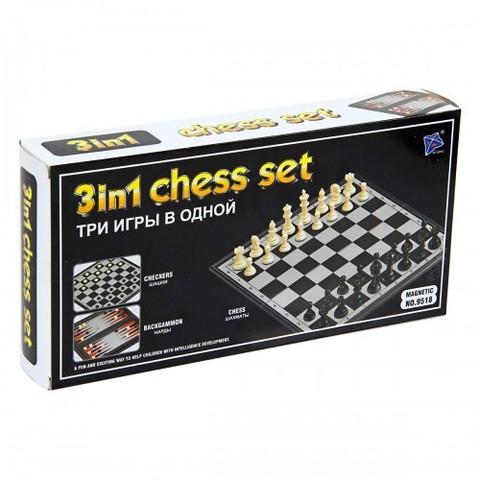 Игра 3в1 (шашки, шахматы, нарды)в кор 9518/К14061