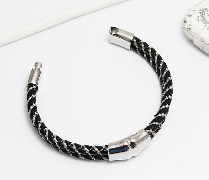 BM460 Мужской браслет из кожаного шнура и стальной проволоки (21 см) фото 02