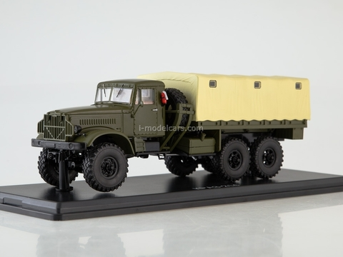 KRAZ-214 flatbed truck with awning khaki-beige 1:43 Start Scale Models (SSM)