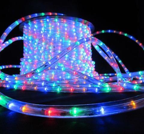 Дюралайт светодиодный, трехпроводной, круглый 13 мм, RGB (мультицвет), 36 LED/м, кратность резки 2 метра
