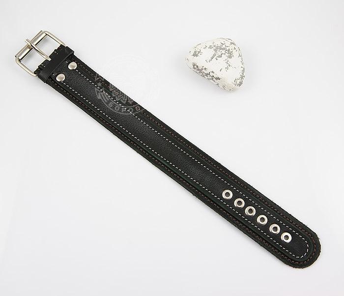 BL445-1 Широкий мужской браслет напульсник ручной работы из кожи фото 02