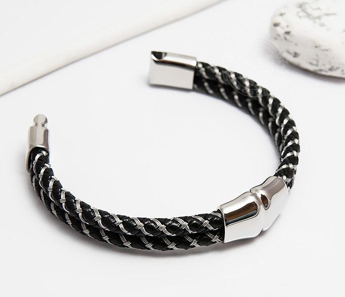 BM460 Мужской браслет из кожаного шнура и стальной проволоки (21 см) фото 03