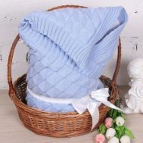 Летний конверт-одеяло Вязка голубой