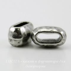 Бусина для шнура 6х2 мм TierraCast 10х6х6 мм (цвет-античное серебро)