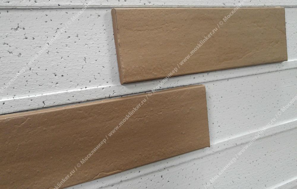 Плитка для фасада и внутренней отделки Экоклинкер, цвет Светлый шоколад, накат Скала, 240x71x10