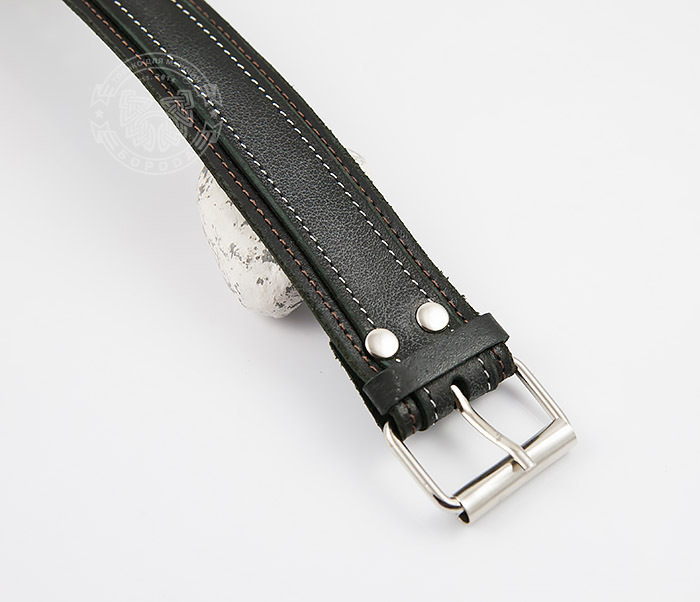 BL445-1 Широкий мужской браслет напульсник ручной работы из кожи фото 04