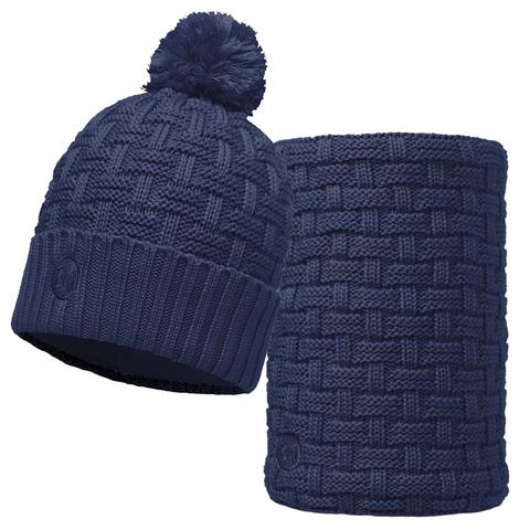Комплект шапка шарф вязаный с флисом Buff Airon Dark Denim
