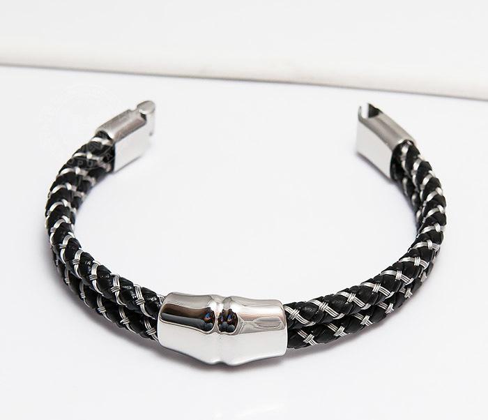 BM460 Мужской браслет из кожаного шнура и стальной проволоки (21 см) фото 04
