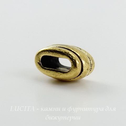 """Бусина для шнура 6х2 мм TierraCast """"Deco Barrel"""" 11х6х6 мм (цвет-античное золото) ()"""