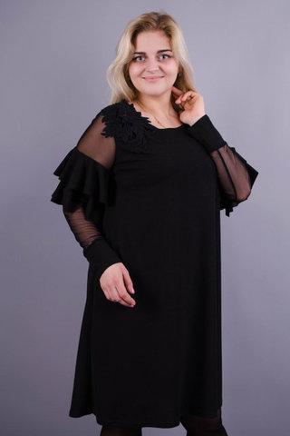 Юнона. Вишукана жіноча сукня великих розмірів. Чорний.