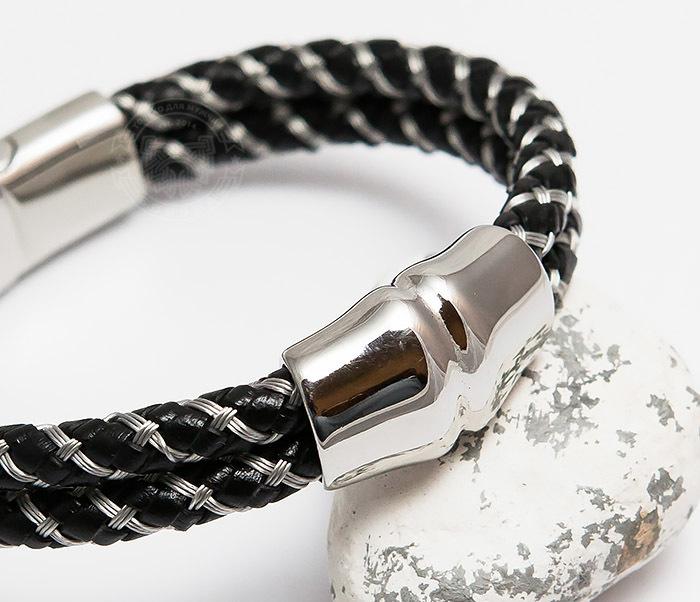 BM460 Мужской браслет из кожаного шнура и стальной проволоки (21 см) фото 05