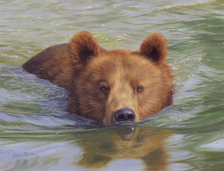 Картина раскраска по номерам 40x50 Медверь плывет в реке ...