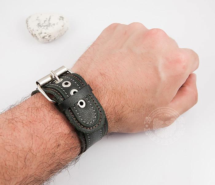 BL445-1 Широкий мужской браслет напульсник ручной работы из кожи фото 08