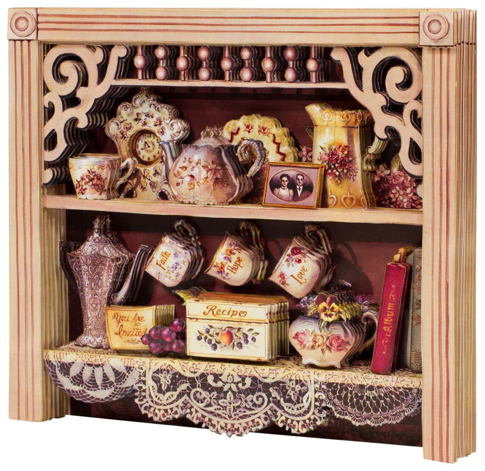 Папертоль Английский шкафчик — собранная модель, вид сбоку.