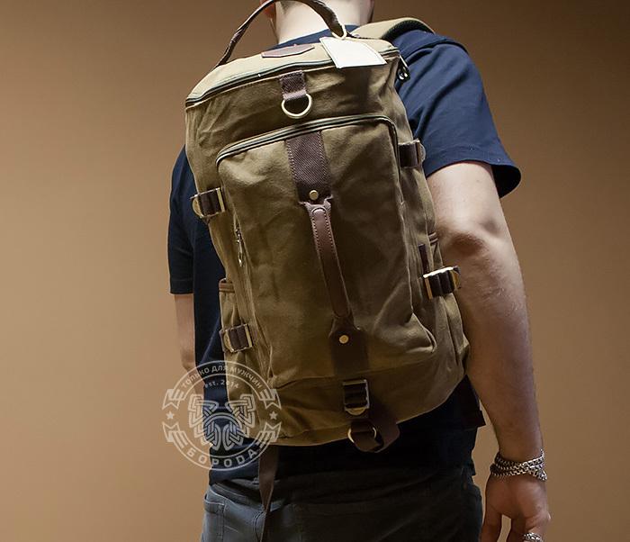 BAG368-2 Вместительная мужская тканевая сумка - рюкзак с ремнем на плечо фото 07